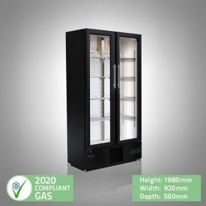 Double Door Upright Slimline Bar Fridge