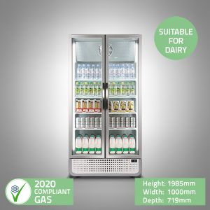 Double Glass Door 1m Wide Display Fridge