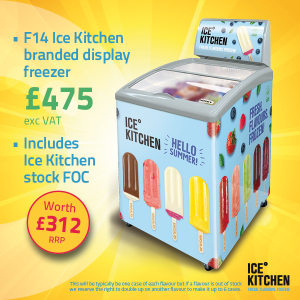 Ice Kitchen branded display chest freezer and FREE stock deal